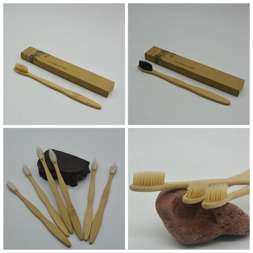 Cepillo de dientes de bambú Cepillo de dientes de carbón de bambú Cepillo de dientes de nylon suave Capitellum Cepillos de dientes de bambú para suministros de baño de viaje de hotel GGA973