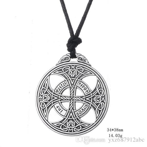 Vintage Asatru Double Side Pendant Charm Necklace Pagan Knot Amulet Talisman Rope Chain For Men Drop Shipping