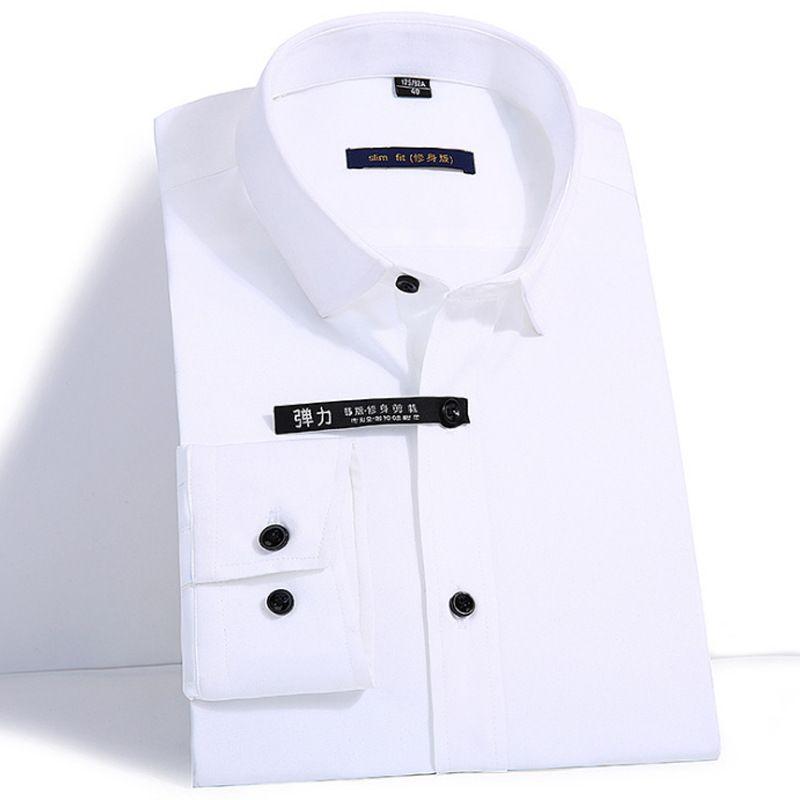 2018 Men's Easy Care Solid Bamboo Fiber Dress Shirts Comfortable Soft Slim Fit Long Sleeve Elastic Male Tops Formal Shirt