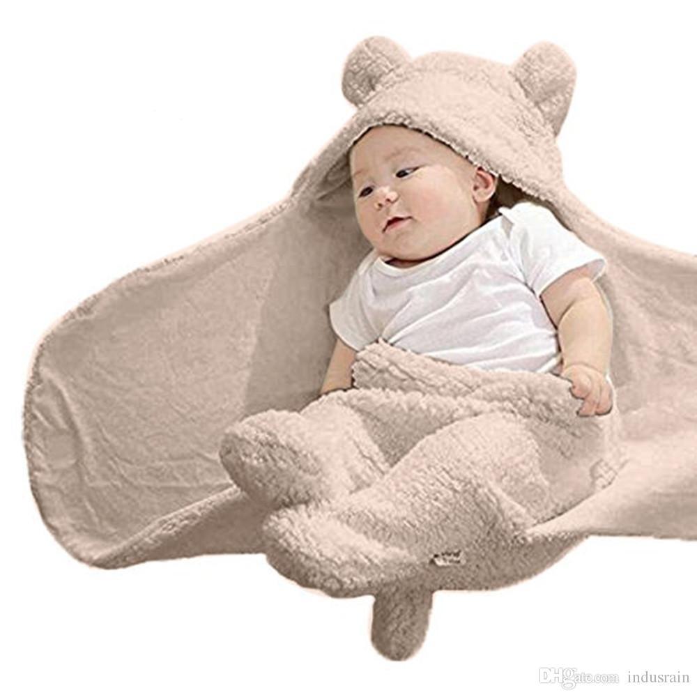 المولود الجديد القطن لطيف تلقي الأبيض النوم بطانية فتاة فتى التفاف قمط الرضع التقميط القطيفة الناعمة