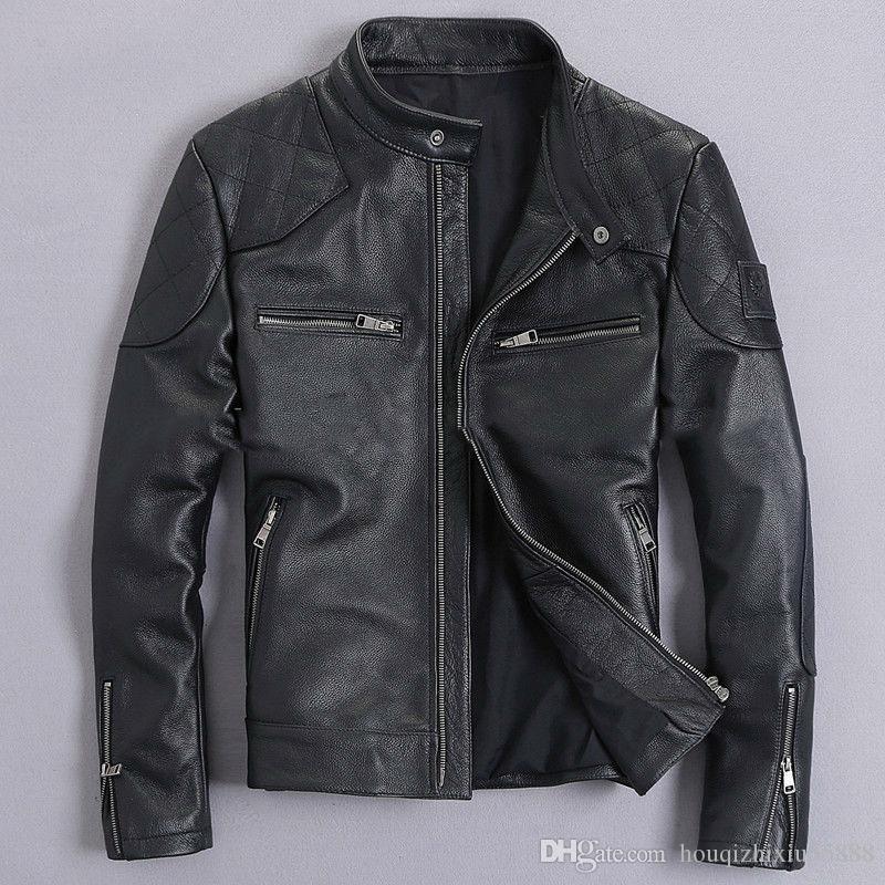 Vera pelle maschile abbigliamento in pelle moto abbigliamento giacca di pelle slim stand collo corto design