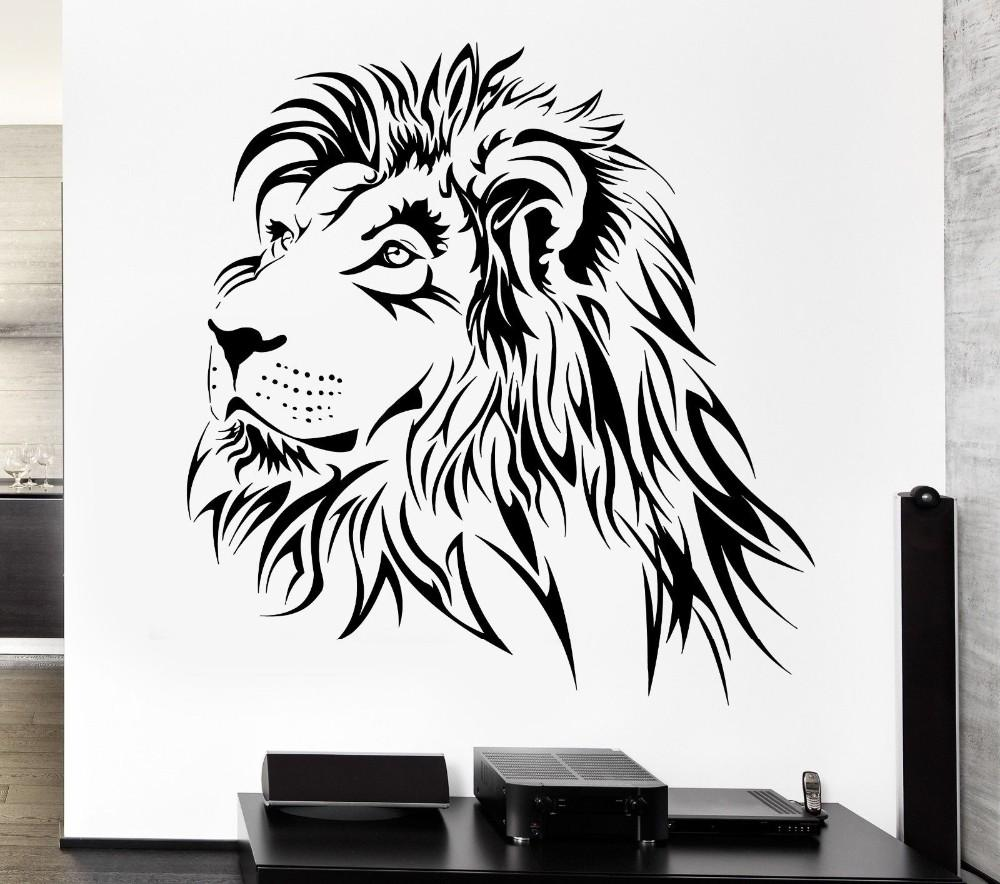 Removable Wallpaper Lion Wall Decal Tribal Zoo Animal Vinyl Stickers for living room home Wall decoration