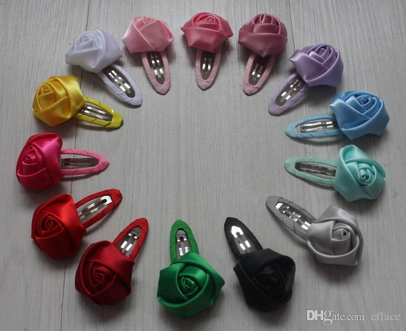 30pcs 4cm lined hair clip satin ribbon rose flower for girls hair accessories,clip ribbon flower for baby hair accessories,hair clip flowers