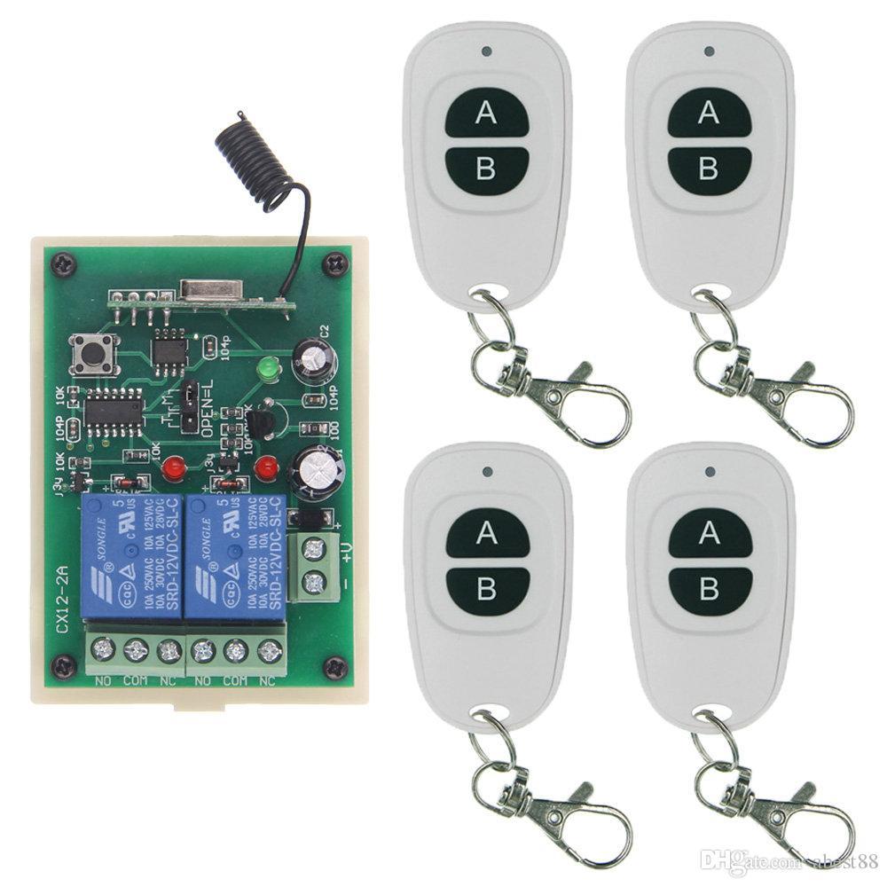 Kablosuz Uzaktan Kumanda Anahtarı 315 433 MHz DC 12V 24V Modülü + 2CH 2 CH Düğme RF Röle İçin Işık / Kapı / Pompa