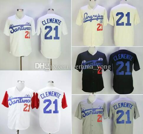 Moda uomo Santurce Crabbers Puerto Rico Roberto Clemente Jersey 21 A buon mercato Black Black Bianco Grigio Stitched College Baseball Shirts