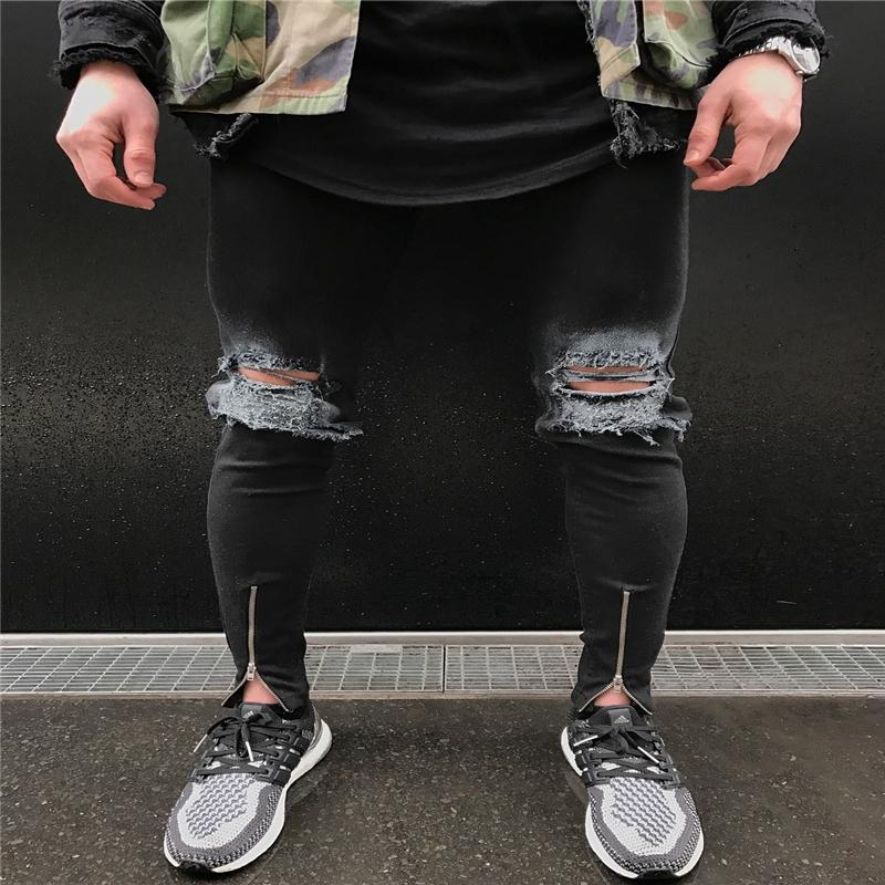Skinny Ripped Jeans For Men Male Black Motorcycle Ankle Zipper Jeans Denim Pants Fashion Brand Swag Hole Biker
