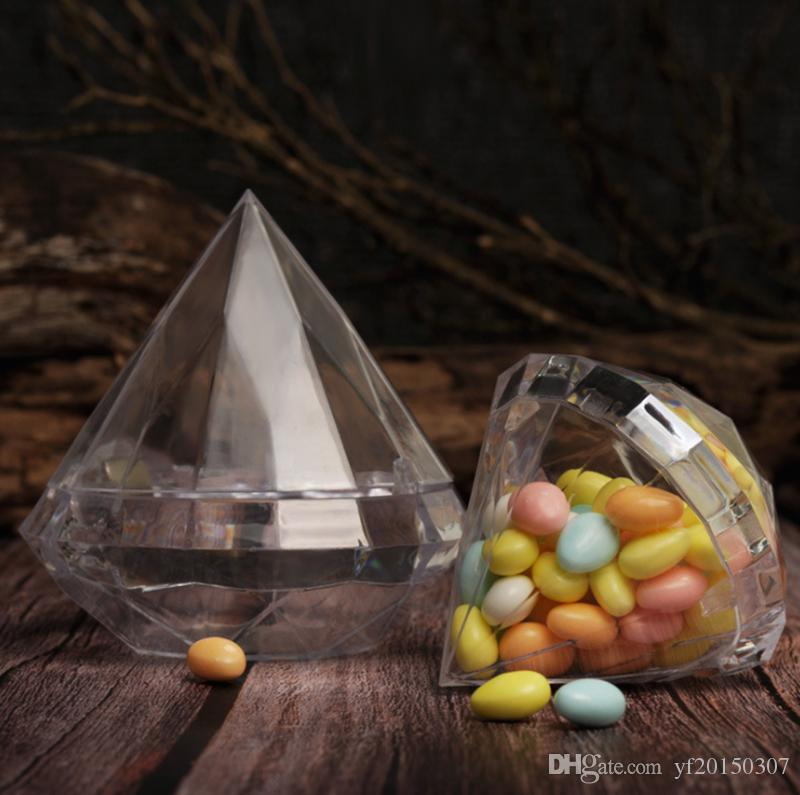 Clear Diamond Candy Box Wedding Favor Gift Boxes Transparent Plastic Box Wedding Gifts Souvenirs for Guests