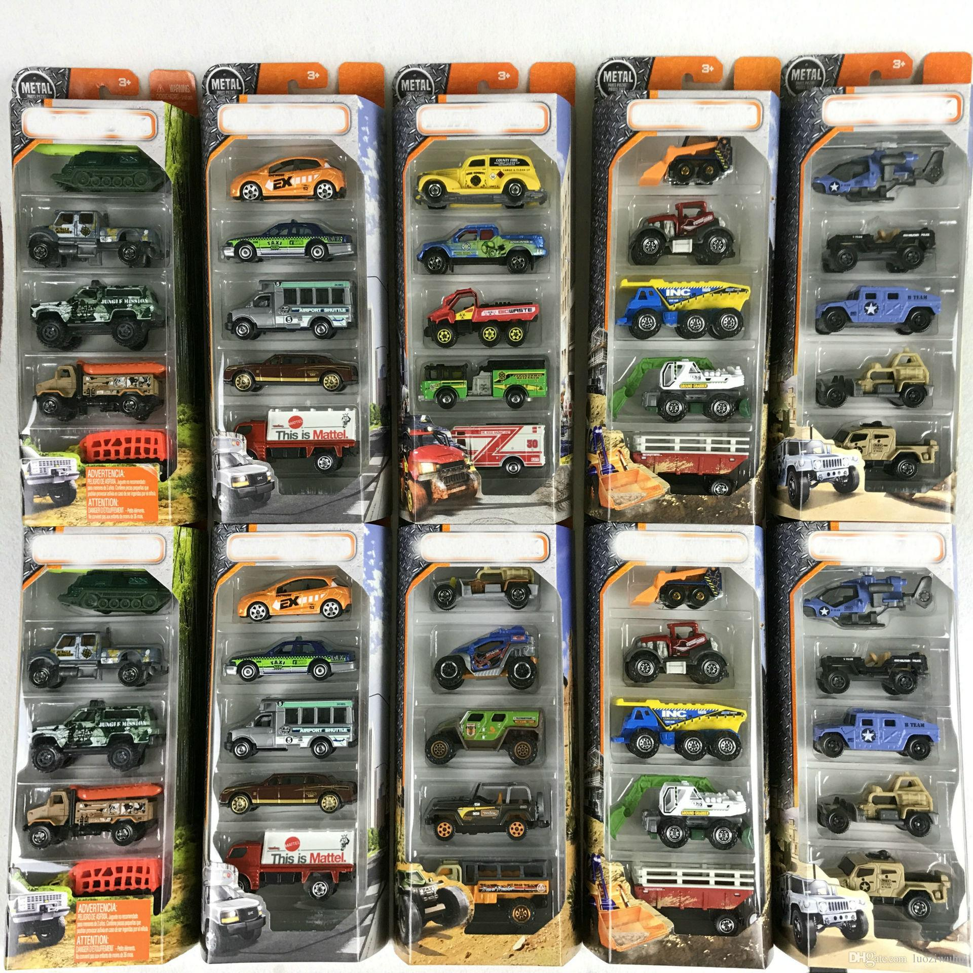 The latest batch of toy cars in the matchbox, 5 city hero engineering vehicles, alloy vehicle models, pocket toys series. C1817