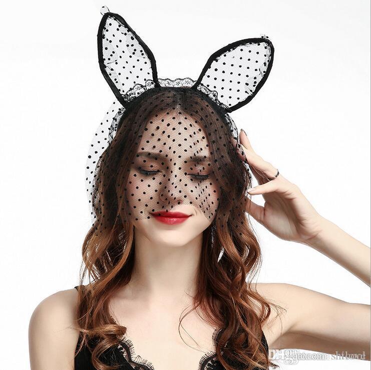 Halloween Party Lace Cat Ears Headband Headwear - Noir Blanc Sexe Femmes Bandeaux De Cheveux De Mariage Photographie Accessoires De Cerceau De Cheveux