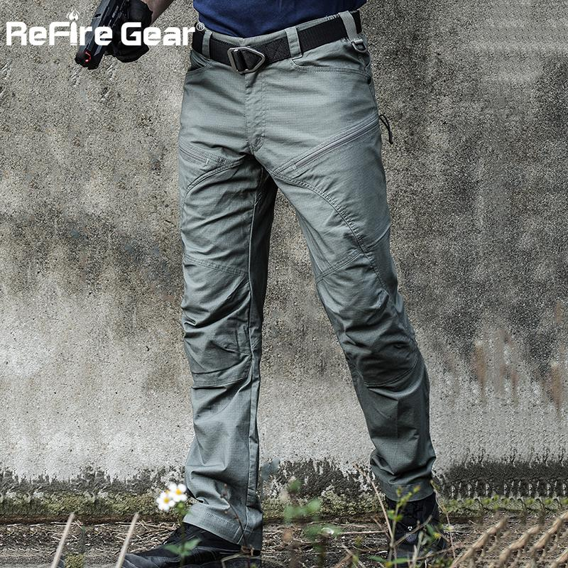 ReFire Gear Military Tactical Cargo Pants Men Special Force Army Combat Pants SWAT Waterproof Large Multi Pocket Cotton Trousers Y1892801