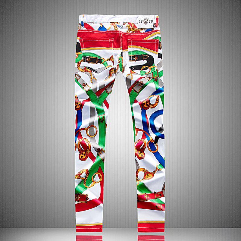 Jeans streetwear pintado graffiti impresión diseño pantalones pantalones pantalones blanco lápiz sim hombre adolescente irregular hombre largo dril de algodón jean pantalones str uxun