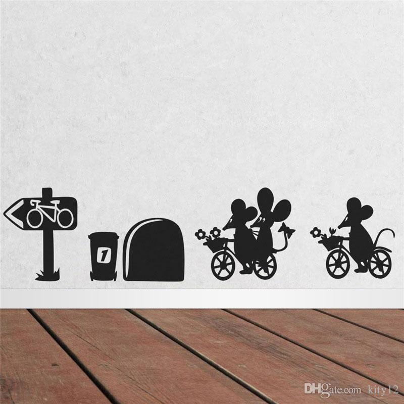 Funny Cartoon Mouse cycling Wall Stickers Room Decoration Diy Vinyl Home Decals Animal Mural Art Posters Free shipping