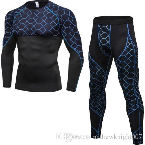 Мужские спортивные работает набор сжатия рубашка с брюками обтягивающие длинными рукавами быстрый сухой фитнес спортивный костюм тренажерный зал йога костюмы