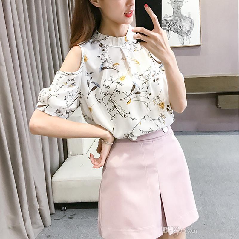 Chiffon Print Blusas Floral Shirt For Womens Elegant Open Shoulder Blouses Women White Plus Size Female Tops