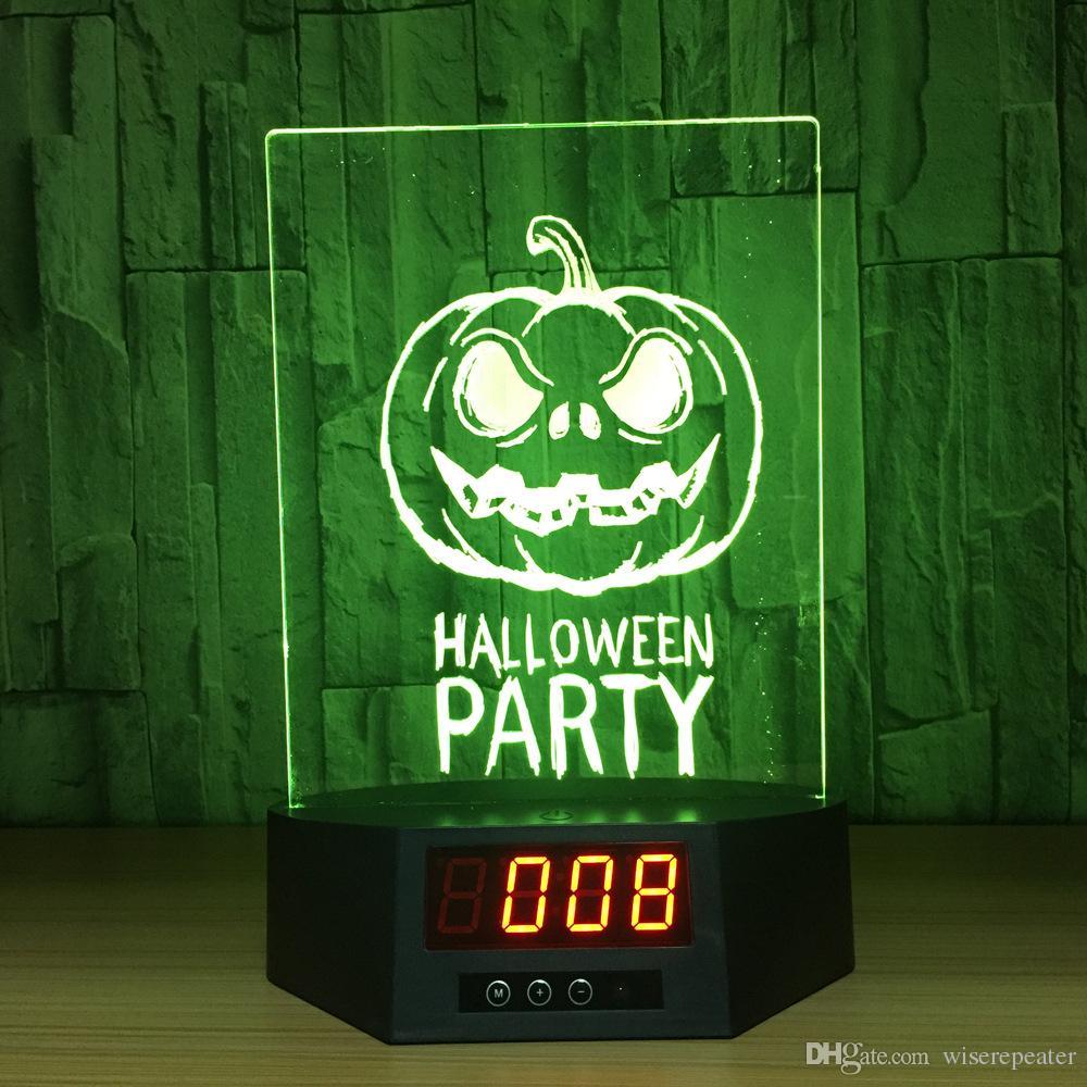 3D Halloween Illusion Clock Lamp Night Light RGB Lights USB Powered 5th Battery IR Remote Dropshipping Retail Box