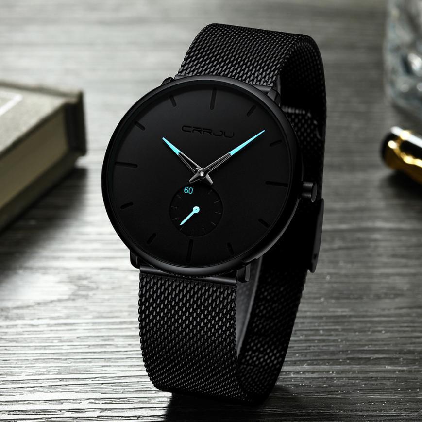 Ultra Slim simples homens do relógio de aço inoxidável Casual relógios de quartzo para homens impermeável reloj hombre Relógio de pulso Zegarek Meskie