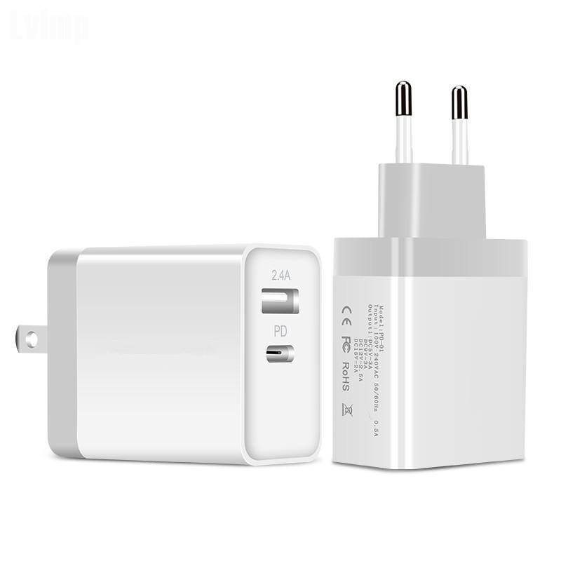 EU Plug USB Adapter USB 5V carregador de parede carregador rápido Dual USB tipo C de saída com plug US Reino Unido da UE para iphone Samsung