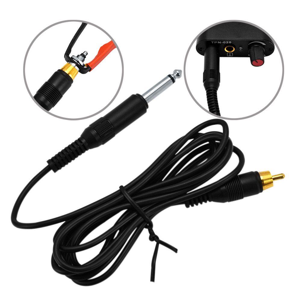 Cable de cable de clip de fuente de alimentación de tatuaje negro para máquinas rotativas de tatuaje para kits de conjunto de máquinas de tatuaje
