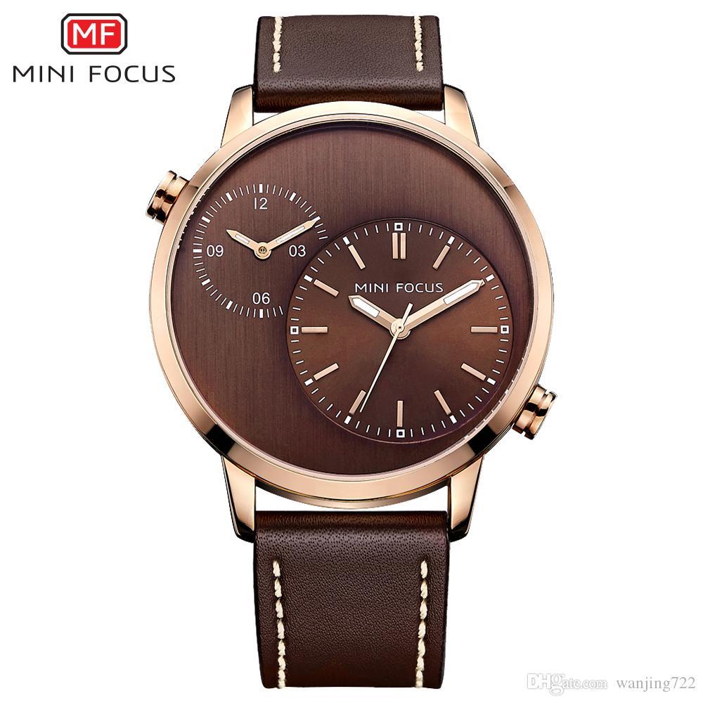 MINIFOCUS Mens Top Brand Busines Reloj de cuarzo Casual Dual Time Zone Hombre Reloj de cuero genuino Relojes de moda Relogio Feminino
