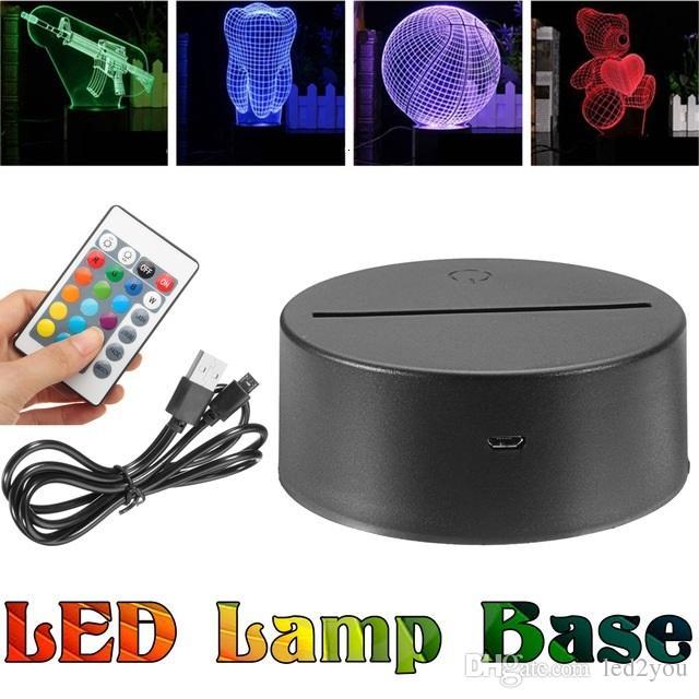 بطارية أو USB مصباح قاعدة الكابل ل 3 D ضوء الليل LED التحكم عن بعد اللمس التبديل 7 لون الجدة إضاءة مصباح طاولة
