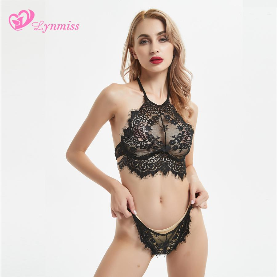 Lynmiss Lingerie Sexy Hot Erotic Lingerie Toys Porn Sexy Underwear Women Erotic Lace Pajamas Halter Black Women Erotic Costumes S918
