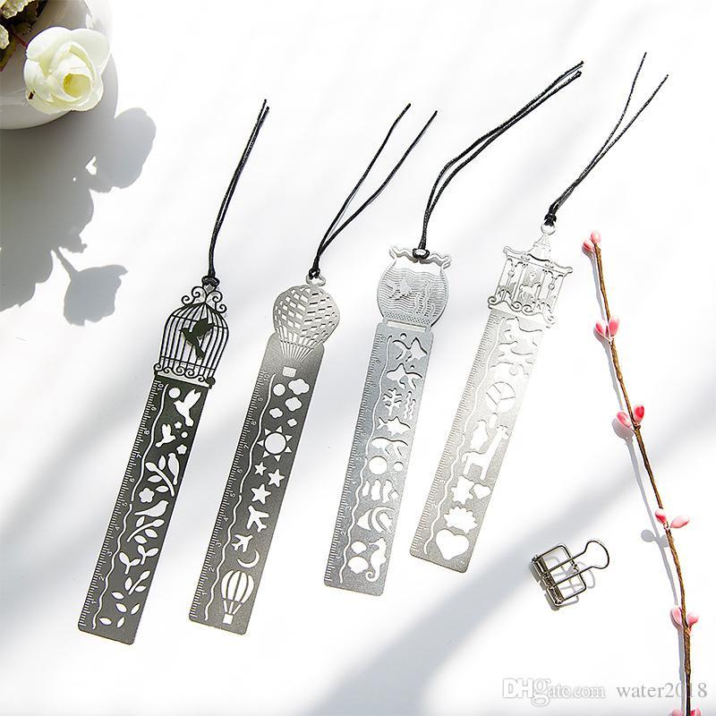 4 Arten Klassisches Metalllineal Lineal Lesezeichen Kreative Studenten Geschenke Antique Geschenke Retro Schreibwaren Stahl Lineal Free DHL