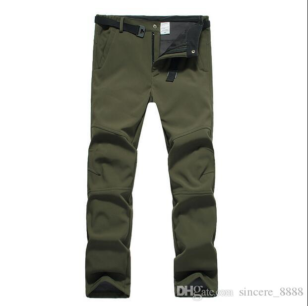 Hot sale men Soft shell fluff waterproof windproof mountaineering charge thickened and velvet warm hiking pants