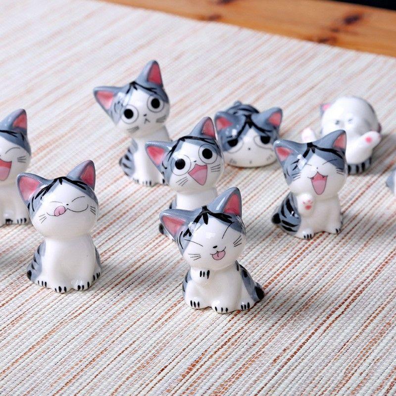 Kawaii 10pcs / set fromage en céramique chat décoration pour la maison artisanat chambre décoration porcelaine figurines d'animaux chanceux filles chat jouet ornements cadeau