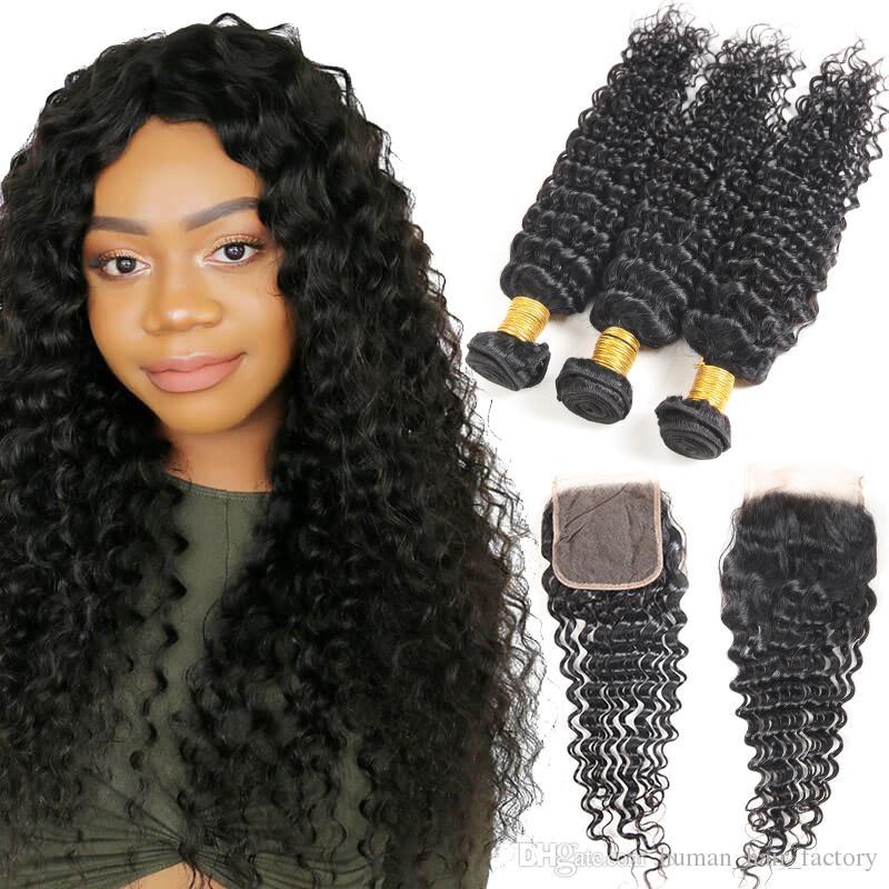 8A Grade Brazilian Human Hair Deep Wave 4 Bundles with Free & Middle Part Closure Peruvian Malaysian Indian Human Hair Extension
