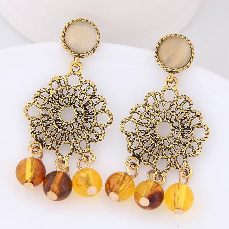 Мода выдалбливают цветок капельного темперамента уха ногтей серьги украшения