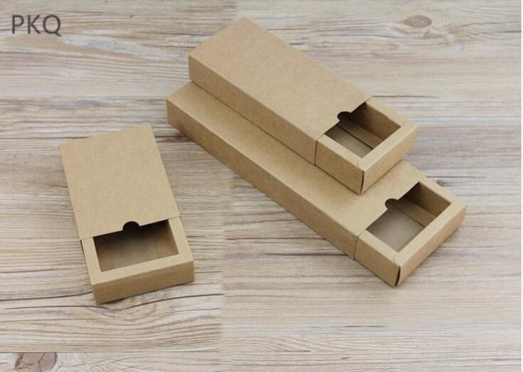 Large DIY gift Kraft Paper Drawer gift Packaging Box Small black Gift package paper carton Box with drawer