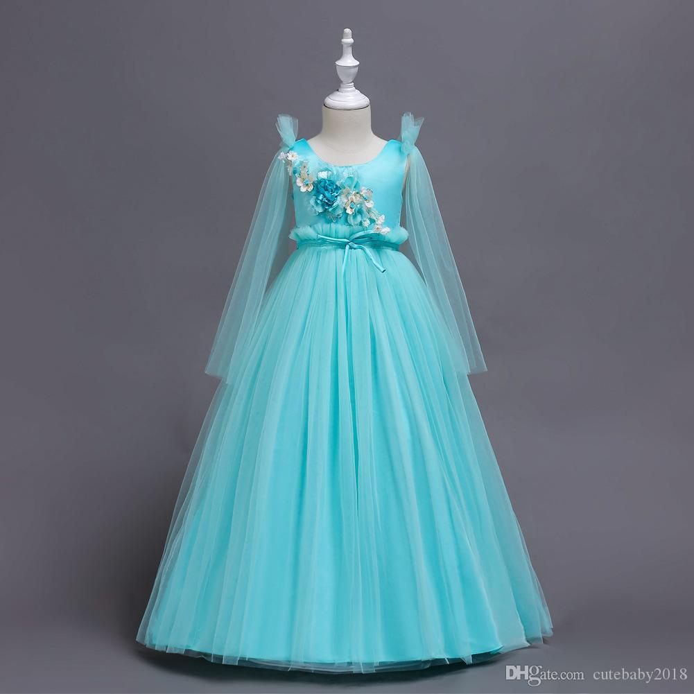 bebê menina vestidos de lantejoulas floral 2018 tutu Princesa arrasto vestidos de casamento para meninas traje bola vestidos de Party Girl Vestidos