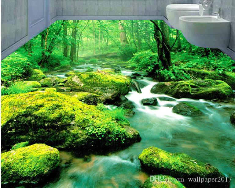 Oda modern duvar kağıdı Yeşil Orman Akışı Akan Rüya 3D Banyo Yatak Odası Zemin özel duvar duvar