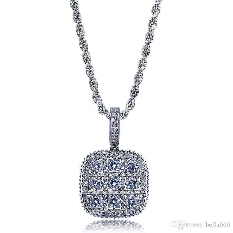 Men Hip Hop Square Cluster Pendant Necklace Iced Out Cubic Zirconia Charms Necklaces Retro Punk Jewelry