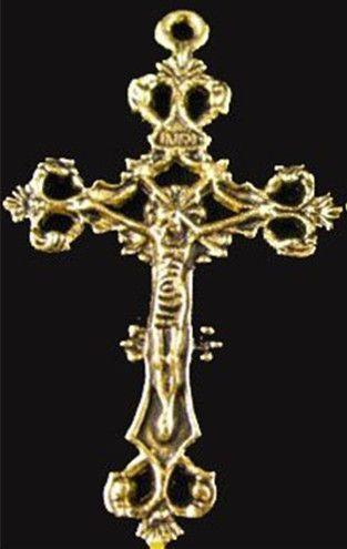 75pcs старину золото цветочные распятие крест подвески A1299G