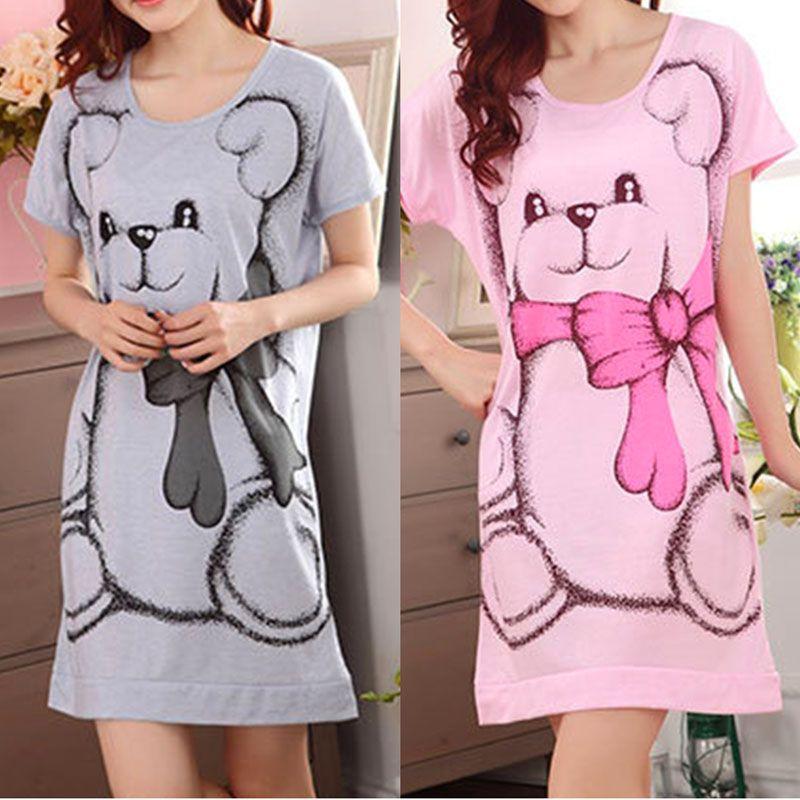 2017 Summer vestidos Women's Nightgowns Sleeveless Short-sleeve Dress Cute Girls Sleepwear Cartoon Bear Printed Sleepwear