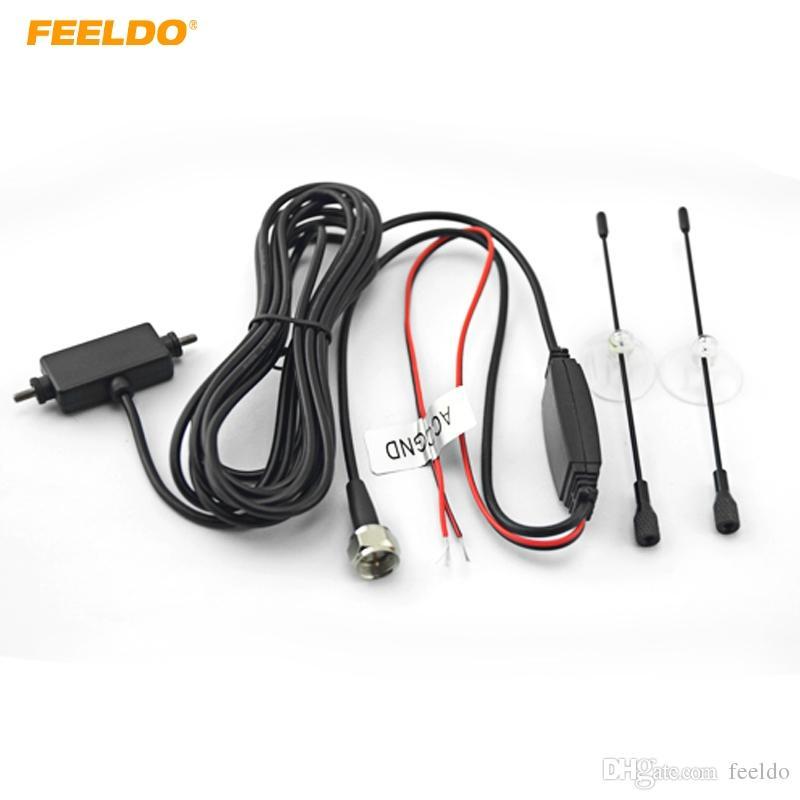 FEELDO Voiture F Connecteur Plug Antenne TV Numérique Auto Avec Amplificateur Intégré Antenne De Voiture # 909