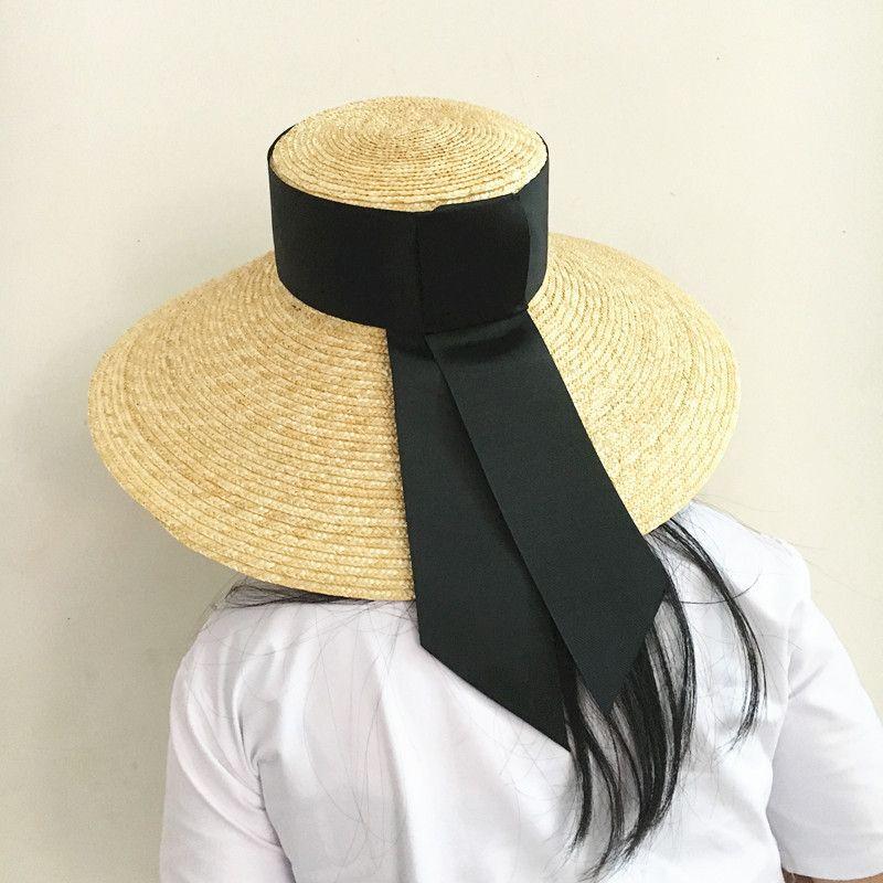 Summer Unisex Handmade Straw Flat Top Caps Women Large Wide Brim Raffia Hat With Bow Beach Caps Sun Protection