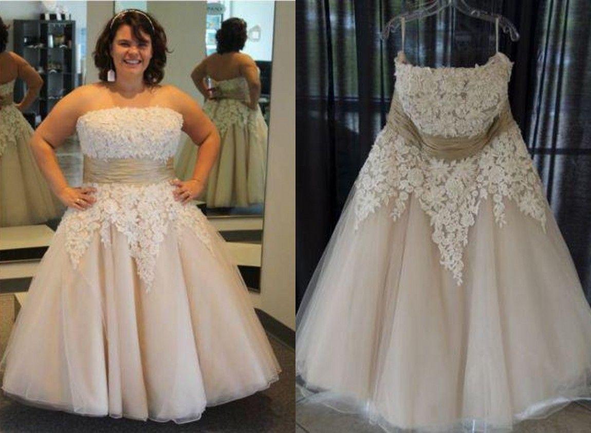 Discount Light Champagne Plus Size Wedding Dress Cheap Strapless Lace A  Line Princess Tulle Applique Corset Back Tea Length Short Wedding Gowns ...
