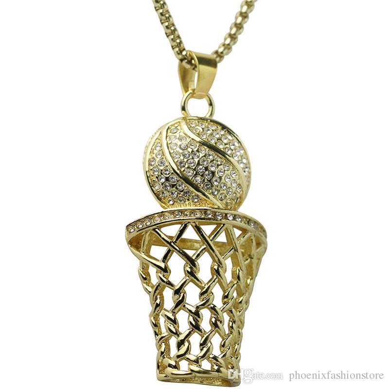 Хип-хоп Bling обледенелый полный горный хрусталь баскетбол кулон ожерелье из нержавеющей стали Спорт длинное ожерелье для мужчин ювелирные изделия золото серебро 2 цвета