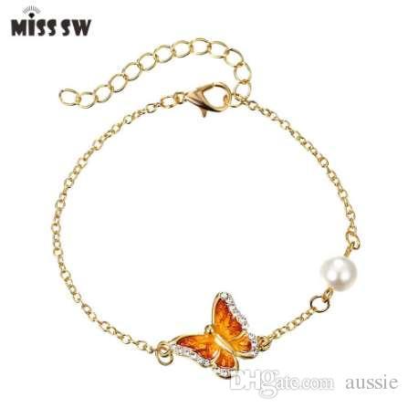 3 Renk Kristal Kelebek ve Çiçek Charm Bilezik Romantik Kelebek Tasarım Altın Kaplama Düğün Bilezik kızın Aksesuar
