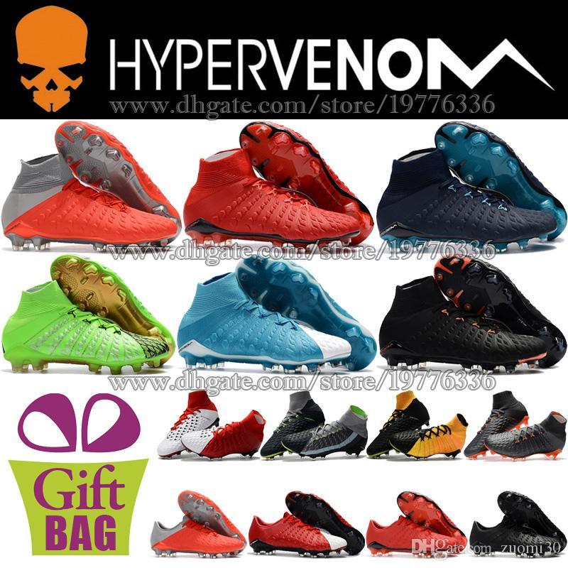 New High Ankle Soccer Cleats Hypervenom Phantom III DF FG Football Boots Socks ACC Soccer Shoes Original Outdoor Cheap Football Cleats 39-46