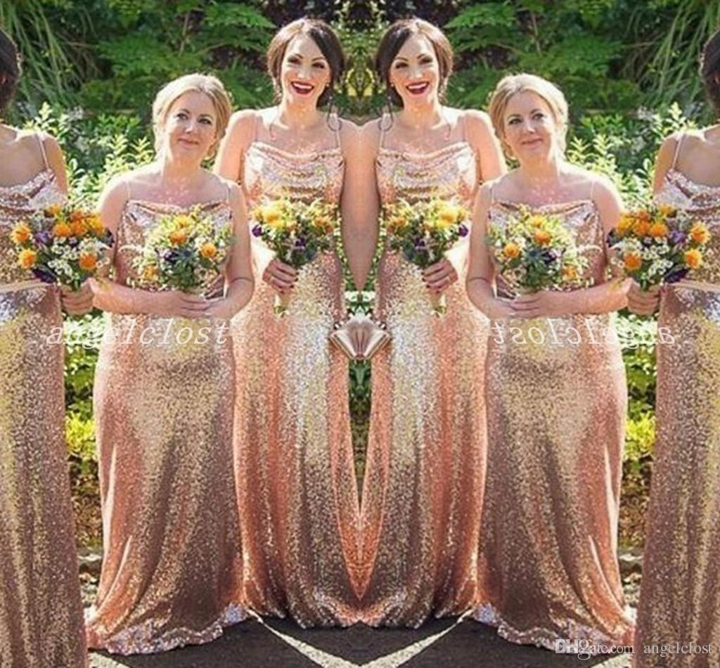 Rose Gold Mermaid Bridesmaid Dresses Spaghetti Sweep Train Sequined Garden Country Wedding Guest Dress robes de demoiselle d'honneur