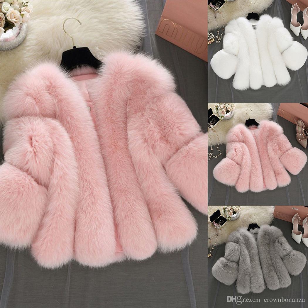 Abrigo de piel peludo de las mujeres mullidas caliente abrigos de manga larga otoño invierno abrigo chaqueta peludo sin cuello abrigo más el tamaño 3XL
