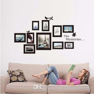 Hot 10x Picture Photo Frame Set Wall Mural Negro Fotos de Boda Marcos Sticker Decal Decor Hogar DIY Extraíble Nueva gota envío