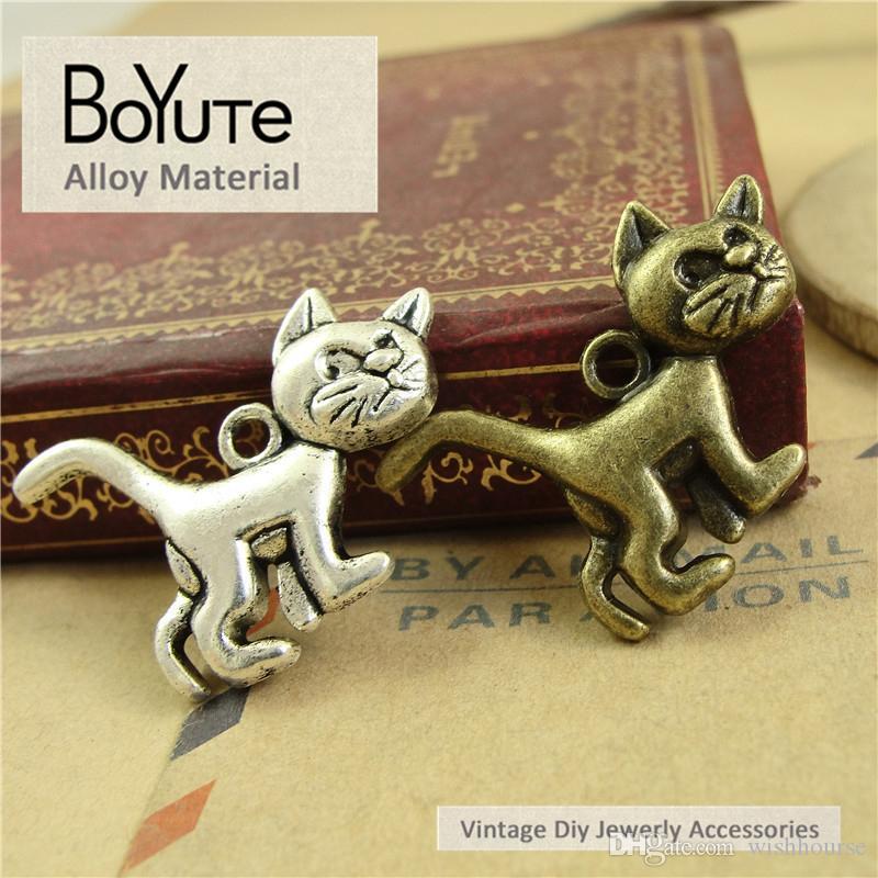 BoYuTe (50 Teile / los) 20 * 30 MM Vintage Zubehör Teile Legierung Material Antike Bronze Silber Katze Charms für Schmuck Machen Diy Handmade