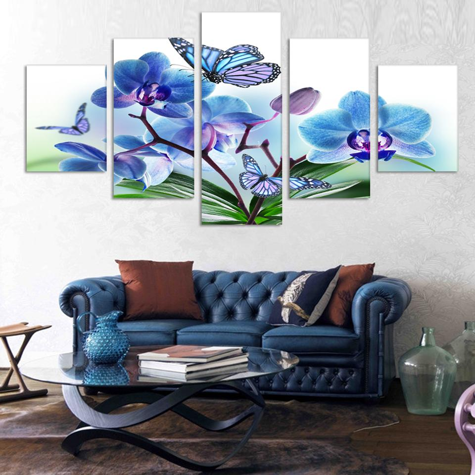 5 Piece Free Shipping Cheap abstract Modern Wall Painting purple pink flower Home Decorative Art Picture Paint on Canvas Prints