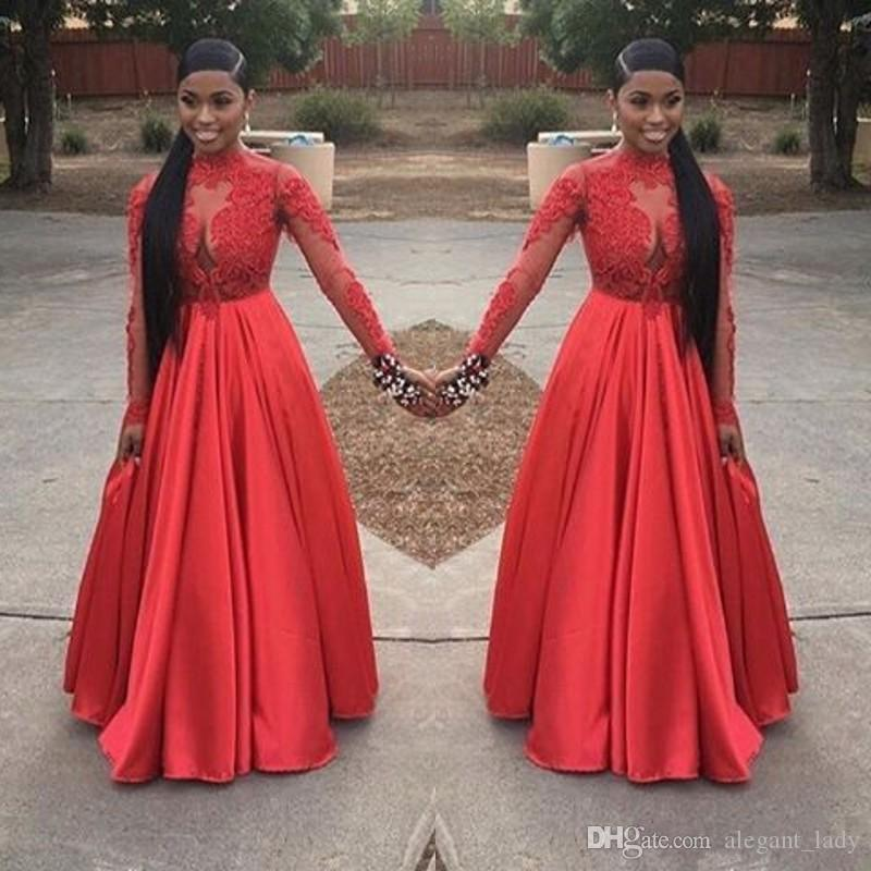 2018 Sexy Plus Size Red Formal Prom Dress Ball Gowns Black Girl V-neck Lace Stain Puffy Skirt Princess Long Sleeves Evening Gowns