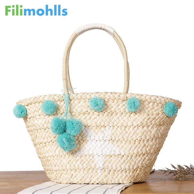 2018 New Summer Beach Borsa Donna Star shopping Tote borse a tracolla in tessuto intrecciate a mano Borsa Bolsa Bohemian Straw Bag S1608
