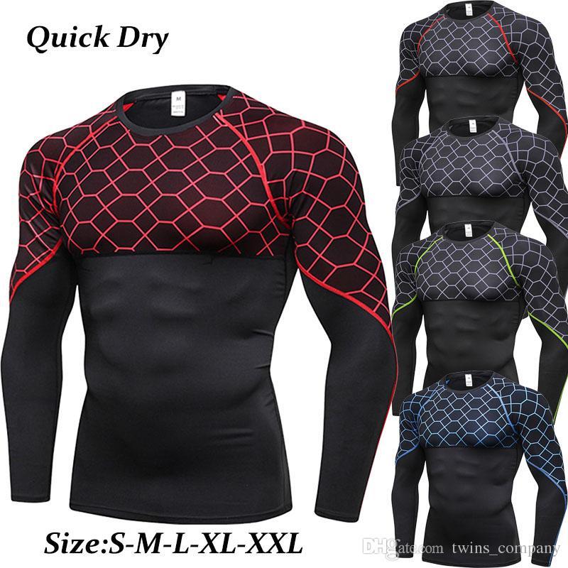 Nowy Szybki Suchy Running T Shirt Men Fitness Tight Sport Koszula Mężczyźni Gym Odzież Bodybuilding Rashgard Męska koszulka dla sportowania